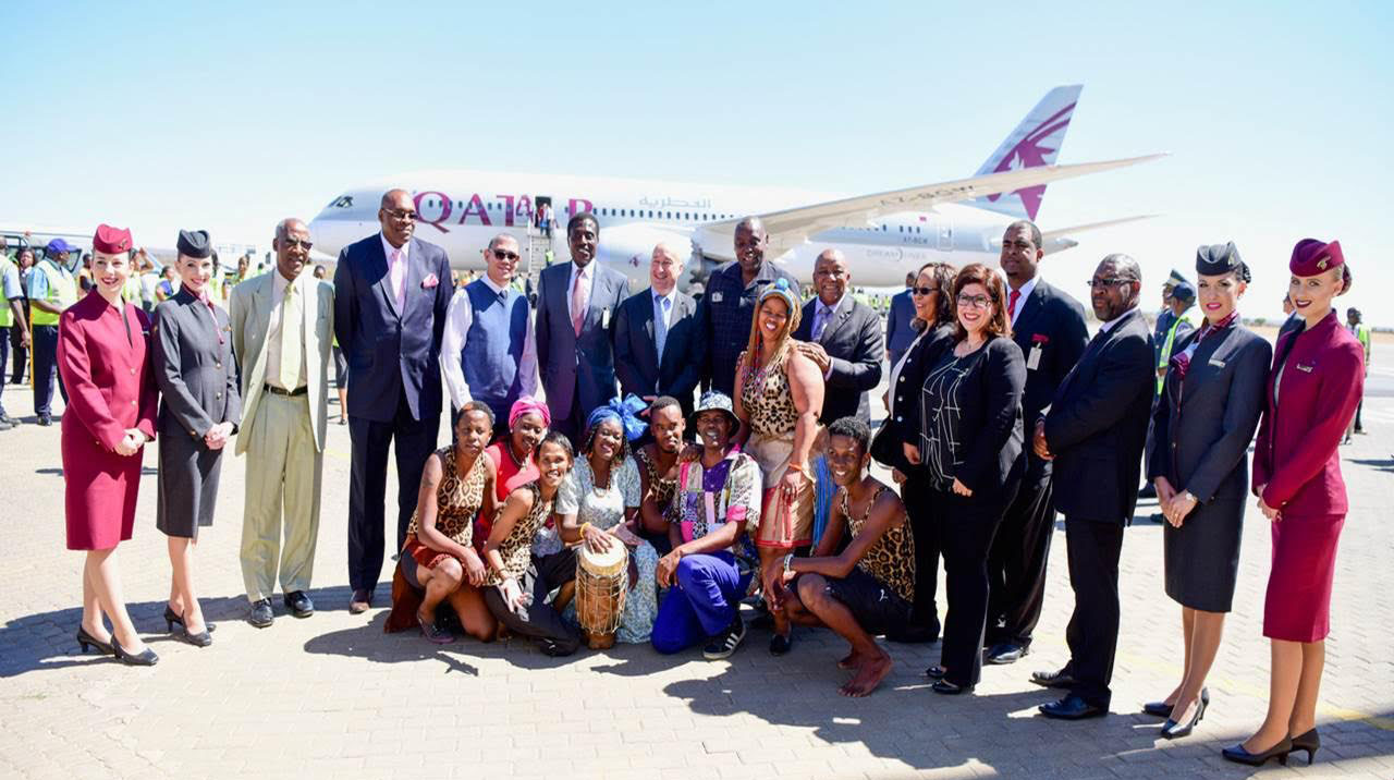 Namibia airports company qatar airways flies doha to windhoek a vip delegation from doha including qatar airways chief commercial officer dr hugh dunleavy and namibias ambassador to qatar his excellency mr japhet stopboris Choice Image