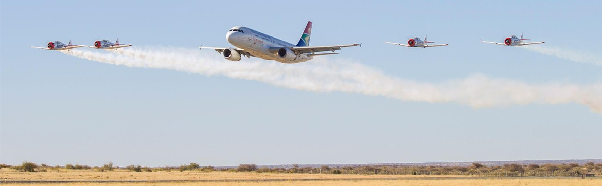 An airbus A320 makes a low level fly by at the air show hosted at the Hosea Kutako Airport - Namibia Airports Company